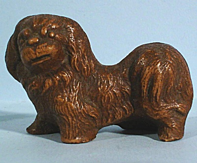 1930s Miniature Wood Composite Pekingese Dog (Image1)