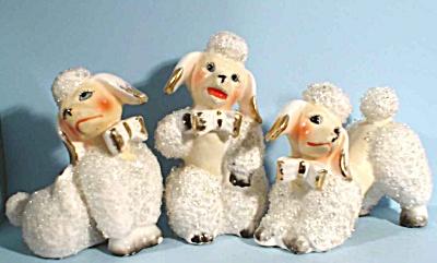 1950s Japan Ceramic Poodle Trio (Image1)