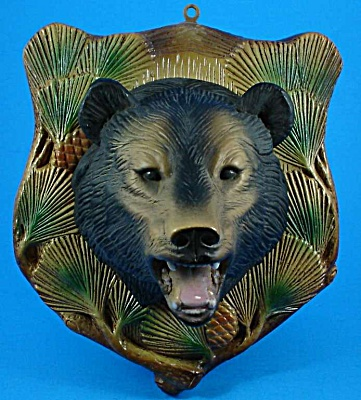 1960s Plaster Bear Head Plaque