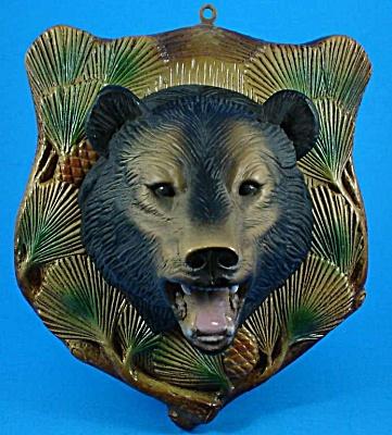 1960s Plaster Bear Head Plaque (Image1)