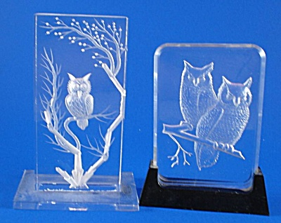 Two Clear Plastic Etched Owl Plaques (Image1)