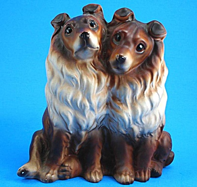 1960s Japan Ceramic Collie Pair Figurine (Image1)