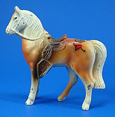 1940s/1950s Painted Metal Palomino Western Horse (Image1)