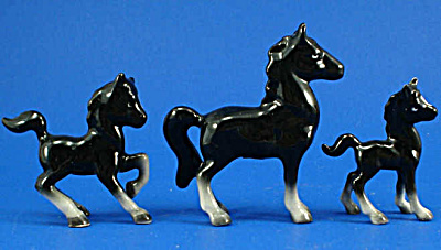 Early 1950s Lefton Miniature Black Horse Trio