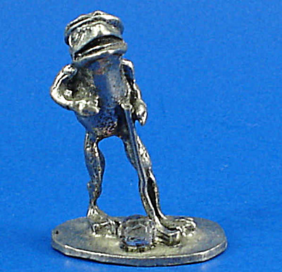 Miniature Pewter Golfer Frog With Crystal Golf Ball
