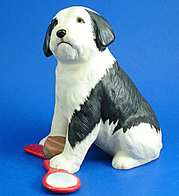 Franklin Mint Porcelain English Sheepdog Figurine (Image1)