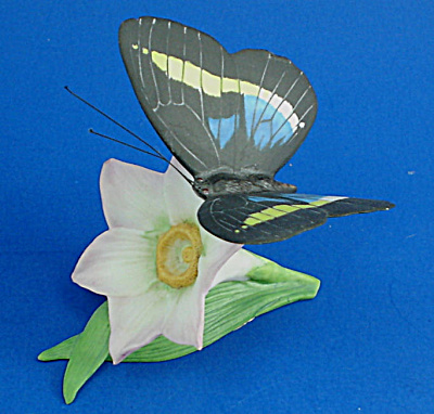 Franklin Mint Porcelain Butterfly On Flower