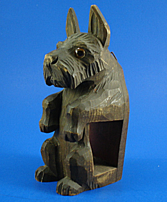 German Carved Wood Wall Hanger Scottish Terrier (Image1)