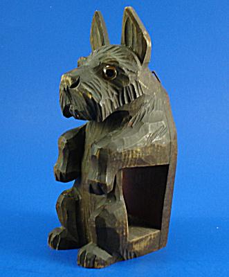 German Carved Wood Wall Hanger Scottish Terrier (Image1)