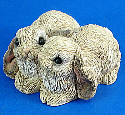 Miniature Stone Critters Lop Ear Bunny Rabbit Pair (Image1)