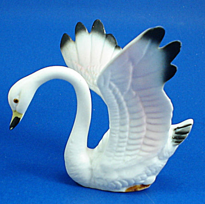 Delicate Miniature Bone China Swan