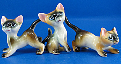 1950s Pottery Siamese Cat Trio