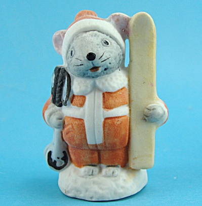 Russ Berrie Porcelain Skiing Mouse