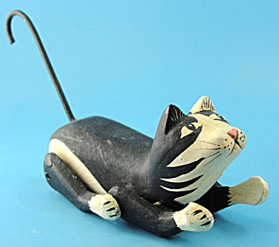 Folk Art Wood Carved Tuxedo Cat Puppet