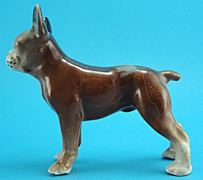1940s/1950s Pottery Brown Boston Terrier Type Dog
