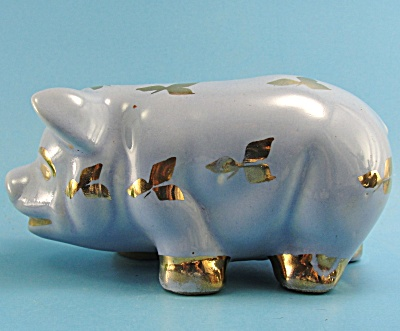1940s Ohio Pottery Blue Pig with Gold Decorations (Image1)