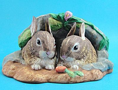 Princeton Gallery 1990 Bunny Rabbit Pair in Burrow (Image1)