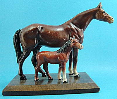 Hubley Cast Iron Horse Pair On Wood Base