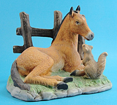 Homco Porcelain Lying Horse Foal with Squirrel (Image1)