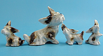 1930s German Porcelain Terrier Dog With Puppies