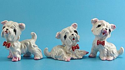 Vintage Japan Ceramic Westie Dog Trio (Image1)