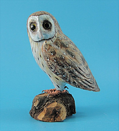 Small Carved Wood Barn Owl