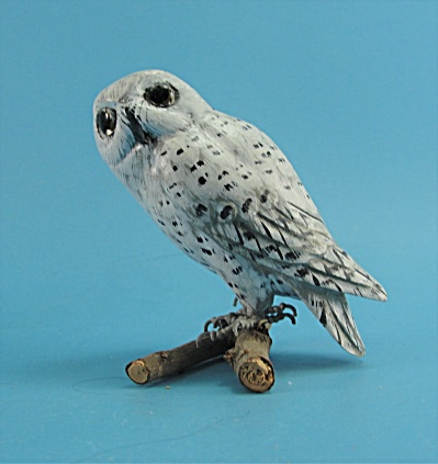 Small Carved Wood Snowy Owl