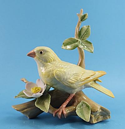 Lefton Porcelain Grosbeak Bird on Branch (Image1)