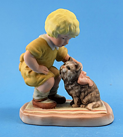 Enesco Treasured Moments Pals Girl With Cat