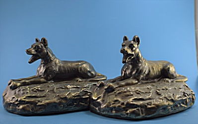 Vintage Metal Great Dane Dog Bookend Pair