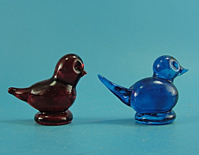 Two Glass Birds Red & Blue