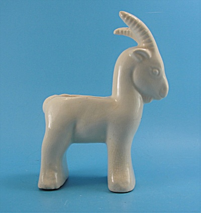 White Pottery Goat Planter