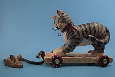 Wood Resin Pull Toy Cat Randy Tate Midwest  (Image1)
