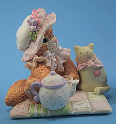 Calico Kitten P. Hileman Enesco Tea Part w/stuffed cat  (Image1)