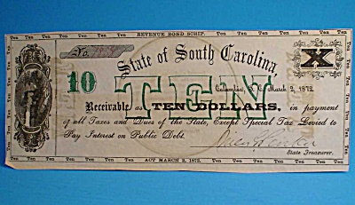 South Carolina $10 Revenue Bond Script 1872 (Image1)