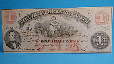 Obsolete Currency Virginia $1 Treasury Note 1862 (Image1)