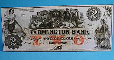 Obsolete Currency Farmington Bank New Hampshire $2 Note