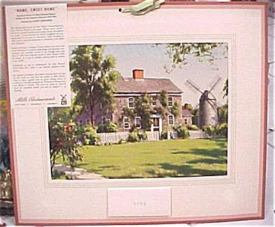 1952 Mills Restaurant Print House Scene Calendar (Image1)