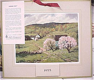 1955 Mills Restaurant Print Farm Scene Calendar (Image1)