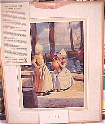 1951 Mills Restaurant Print Dutch Girls Calendar (Image1)