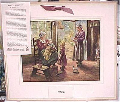 1946 Mills Restaurant Print Family Scene Calendar (Image1)