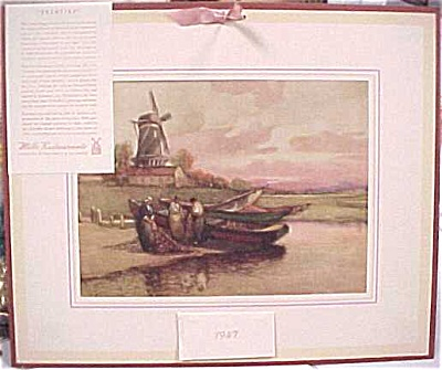 1947 Mills Restaurant Print Boat Scene Calendar (Image1)