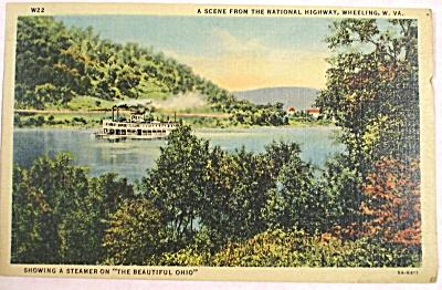 1954 Steamer Boat on Ohio River Wheeling WV Postcard (Image1)