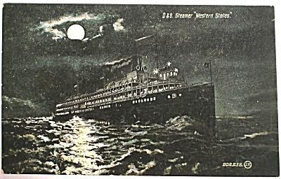 1907 D&B Steamer ''Western States'' at Night Postcard (Image1)