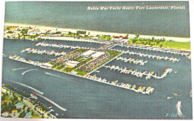 1956 Ft Lauderdale Florida Marina Postcard (Image1)