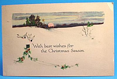 Vintage Postcard, Christmas Birds Snow Scene (Image1)