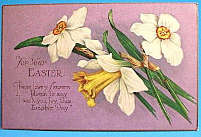1928 Postcard: Easter Greeting, Daffodils, Used (Image1)