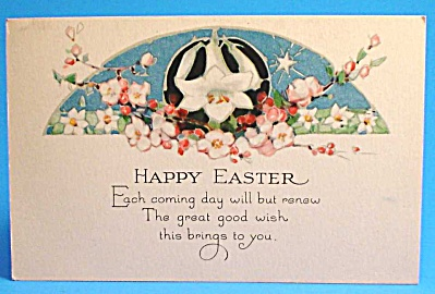 Vintage Postcard: Easter Greeting, Flowers (Image1)