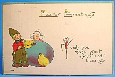 1913 Postcard: Easter Greeting Dutch Children (Image1)