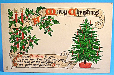 1912 Tuck Postcard: Christmas Tree, Used (Image1)